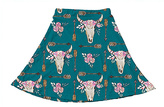 Urban Smalls Blue & White Floral Skull A-Line Skirt - Toddler & Girls