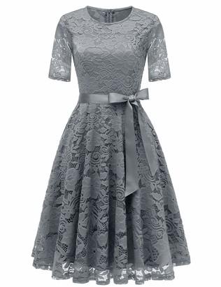 DRESSTELLS Women's Floral Lace Dress Knee Length Bridesmaid Casual Cocktail Wedding Party Dress Burgundy 2XL