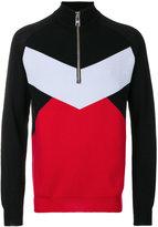 Versus block colour zip-up sweater