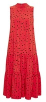 Dorothy Perkins Womens Billie & Blossom Red Tiered Spot Print Midi Dress, Red