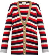 Gucci Striped V-neck wool and cashmere-blend cardigan
