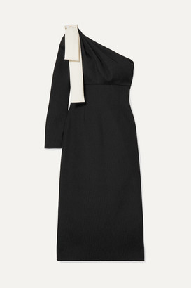 Emilia Wickstead Nadia One-sleeve Bow-detailed Cloque Dress - Black