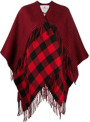 Woolrich Mix-Check Fringed Shawl Coat