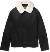 A.P.C. Davy Shearling-Trimmed Wool-Blend Blouson Jacket