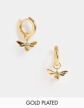 Olivia Burton Lucky Bee huggie hoops in gold plate