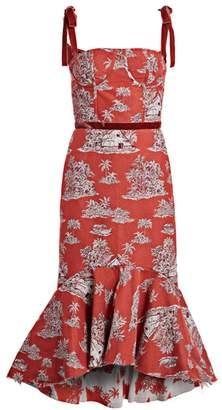 Johanna Ortiz Printed High-Low Midi Dress