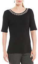 Investments Embellished Jewel Neck Top