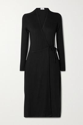 Leset Lori Brushed Stretch-jersey Wrap Midi Dress - Black
