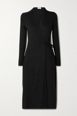 Leset Lori Brushed Stretch-jersey Wrap Midi Dress
