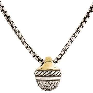 David Yurman Diamond Acorn Pendant Necklace