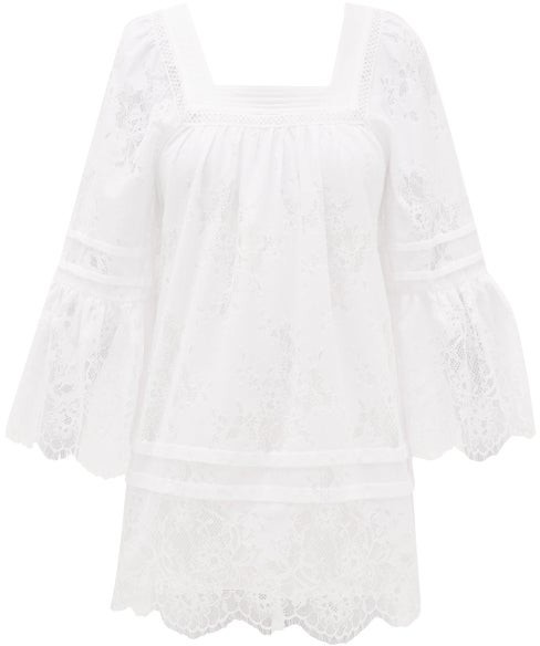 Self-Portrait Backless Lace-trimmed Voile Tunic Dress - White