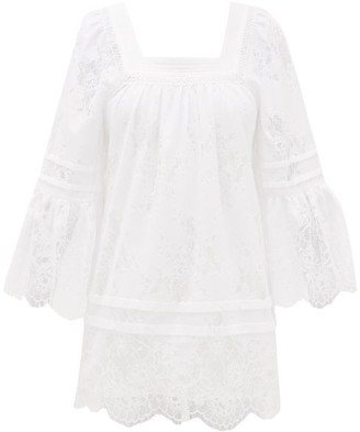 Self-Portrait Backless Lace-trimmed Voile Tunic Dress - Womens - White