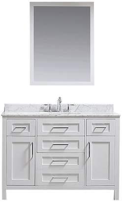 "Ove Decors Tahoe Single Vanity Set w/ Mirror, 48"", White w/ Carrara Marble Top"