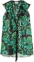 Lanvin Ruffled Floral-print Devoré-chiffon Top - Jade