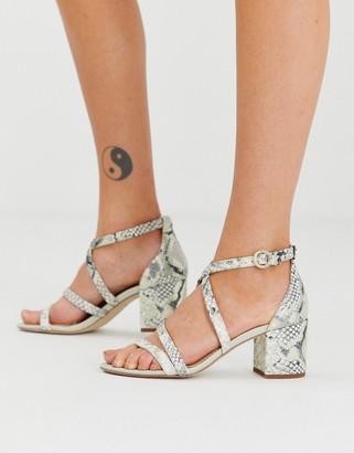 Sam Edelman strappy block heeled sandals in snake