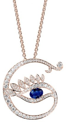 Tabayer Eye 18K Rose Gold, Sapphire & Diamond Genuine Pendant Necklace