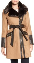 Via Spiga Women's Faux Leather & Faux Fur Trim Belted Wool Blend Coat