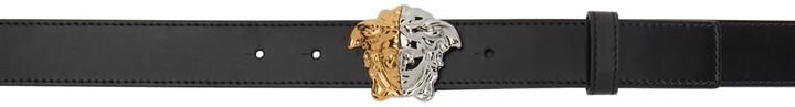 Versace Black Demi Leather Palazzo Thin Belt