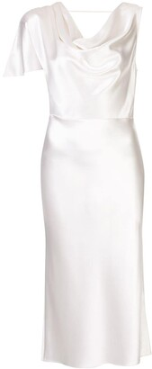Fleur Du Mal Asymmetric Silk Midi Dress
