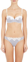 Stella McCartney WOMEN'S MARIE SKIPPING STRIPED POPLIN & EYELET CONTOUR BRA-BLUE SIZE 32 BCP