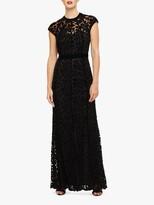 Phase Eight Cleo Velvet Applique Maxi Dress, Black