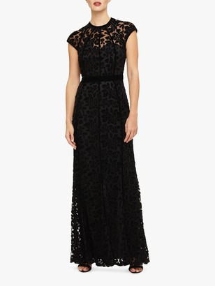 Phase Eight Cleo Velvet Applique Maxi Dress, Black