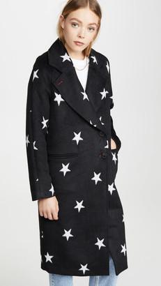 AVEC LES FILLES Double Face Star Print Raglan Coat