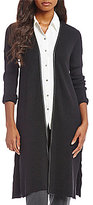 Jones New York Faux Leather Trim Rib Knit Long Cardigan