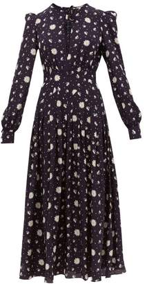 Alessandra Rich Daisy Print Silk Crepe De Chine Midi Dress - Womens - Navy Multi
