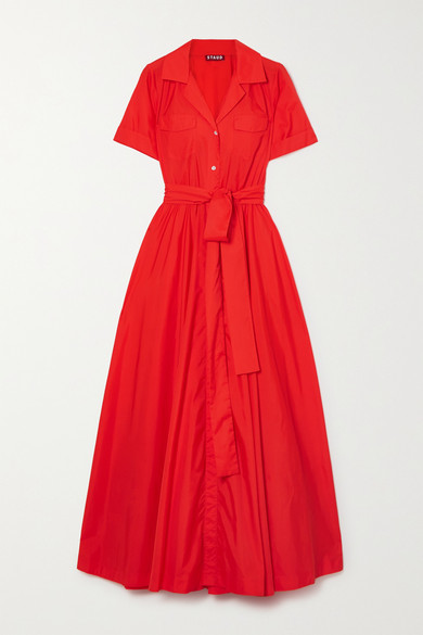 STAUD Millie Belted Shell Maxi Shirt Dress - Red