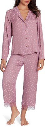 Midnight Bakery Lace Trim Dot Satin Pajamas