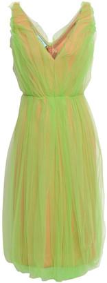 Prada Gathered Layered Neon Tulle And Scuba Dress