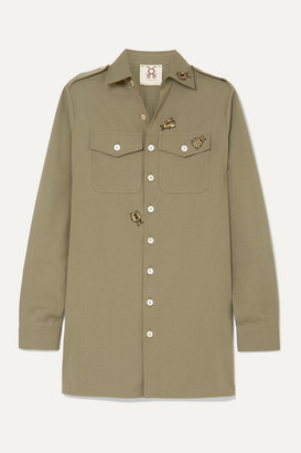 Figue Appliqued Cotton Shirt - Army green