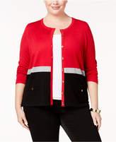 Karen Scott Plus Size Colorblocked Cardigan, Created for Macy's