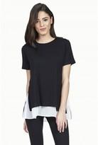 Select Fashion Fashion Womens Black Chiffon Mix Double Layer Tee - size 10