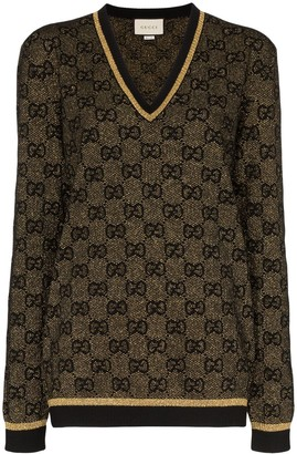 Gucci V-neck lurex knit GG sweater