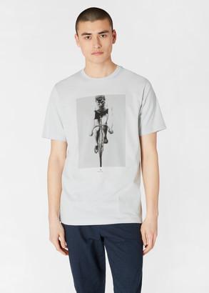 Paul Smith Men's Light Blue 'Cyclist' Print Organic-Cotton T-Shirt