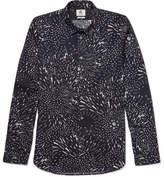 Paul Smith Slim-fit Printed Cotton-poplin Shirt - Midnight blue