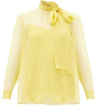 Valentino Pussy-bow Chiffon Blouse - Womens - Yellow