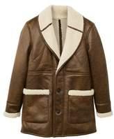 MANGO Faux shearling aviator coat