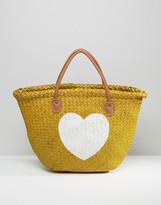Hat Attack Painted Heart Straw Tote Bag