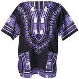 Lofbaz Traditional African Print Unisex Dashiki Size L Black and Purple