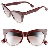 Fendi Women's 52Mm Cat Eye Sunglasses - Opal/ Burgundy