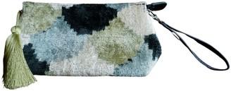 Punica Velvet Ikat Wrist Bag - Black, Sage & Blue
