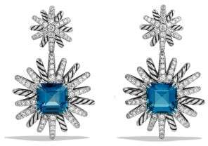 David Yurman Starburst Drop Earrings With Hampton Blue Topaz And