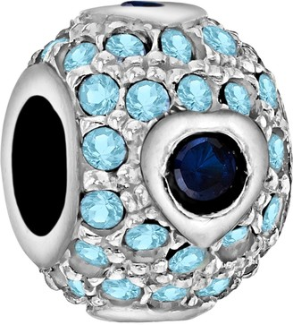 Tuscany Charms Sterling Silver Blue & Blue Crystals Dot Bead