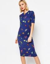 House of Holland Bug Print Midi Dress
