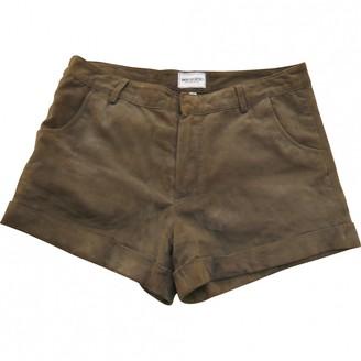 American Retro Khaki Leather Shorts for Women