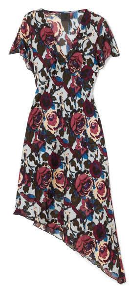 Anna Sui Birds And Roses Printed Silk-chiffon Dress - Blue