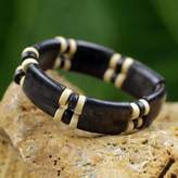 Black and Cream Eco Friendly Recycled Bead and Wood Bracelet, 'Midnight Connection'